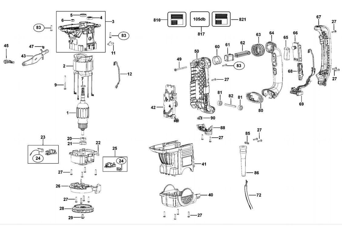 Martelo perfurador / rompedor 1.200 watts velocidade variável sds-max - D25602K-B2  220V Dewalt