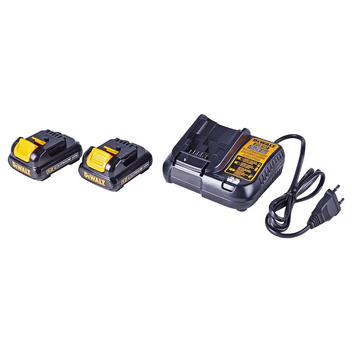 Parafusadeira De Impacto 1/4Pol. 6,4mm 12V Max Ion-Litio 220V com 2 Baterias DEWALT DCF805C2