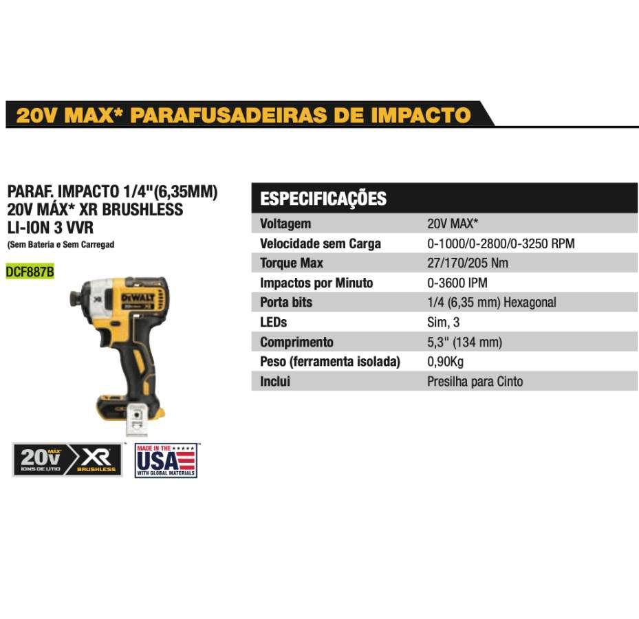 "Parafusadeira de Impacto DCF887B 20V Max XR Dewalt 1/4""(6,35MM)  BRUSHLESS"