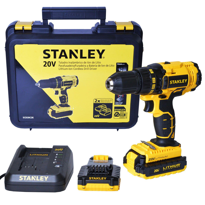 Parafusadeira e Furadeira A Bateria 20V Stanley Scd20C2K-B2 - 220V