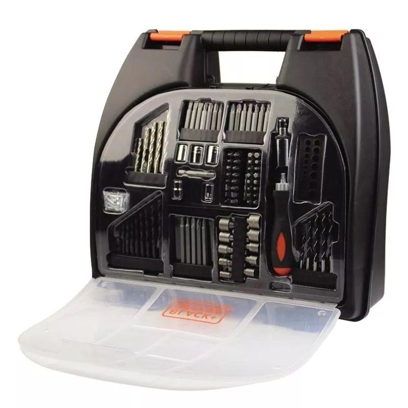 Parafusadeira e Furadeira Sem Fio 12V Nicd - Acompanha 100 Acessórios Black+Decker