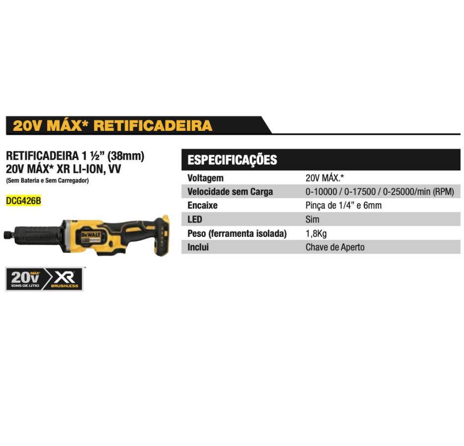 Retificadeira DCG426B 20V Max XR Li-Ion Dewalt (38mm)