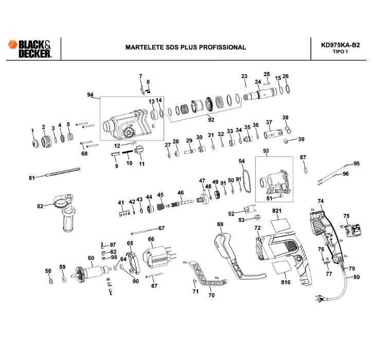 Rotor 220v P/ Martelete KD975A Black+Decker 90534211 700w