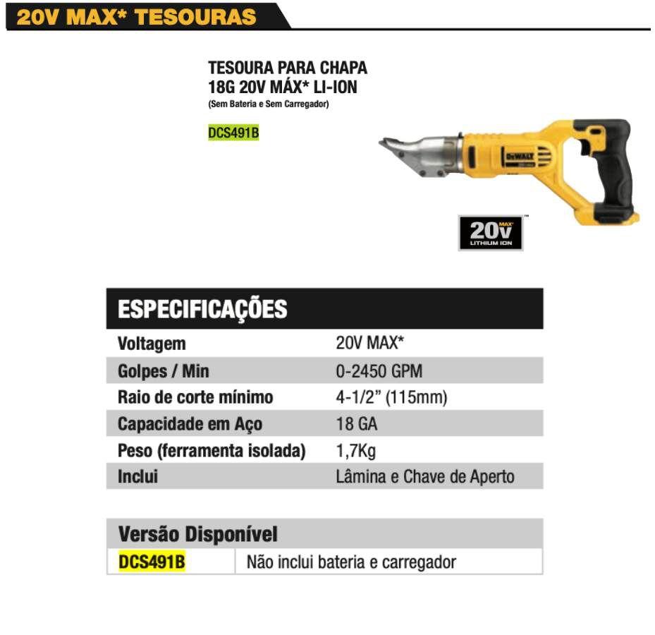Tesoura p/ Chapas Cabeça Giratória DCS491B 20V Dewalt