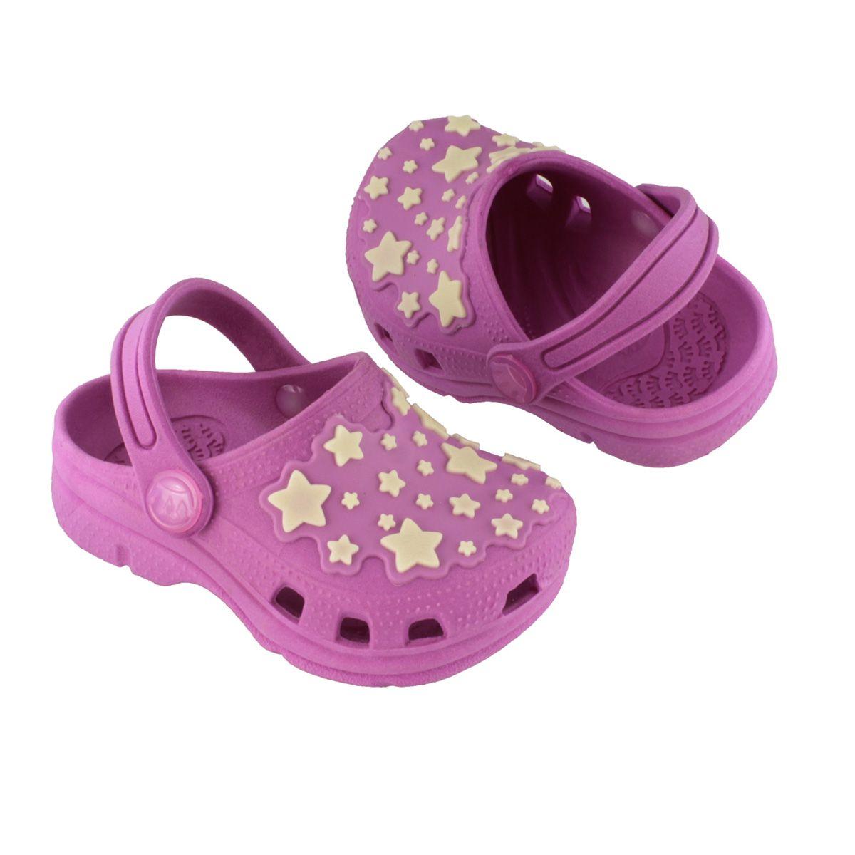 Babuche Baby Estrelas Brilha no Escuro Pink