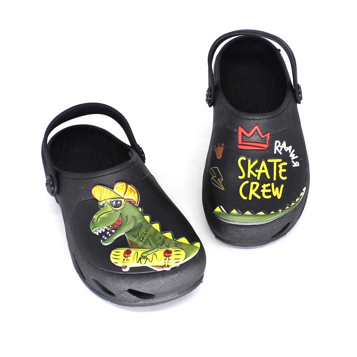 Babuche Plugt Ventor Kids Dino Skate Preto