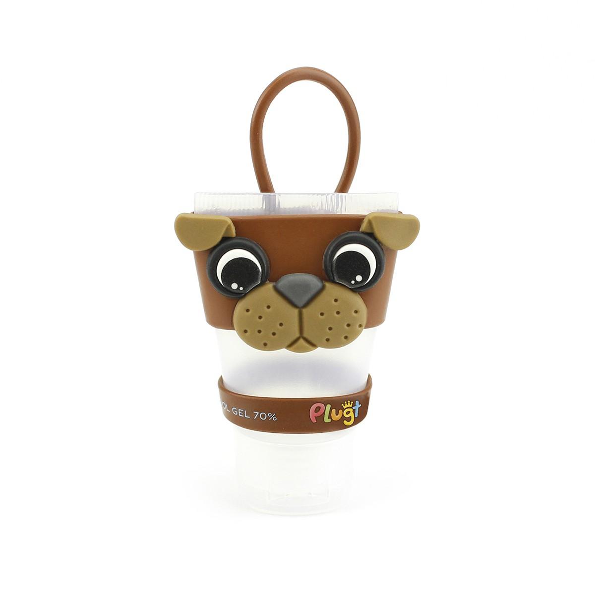 Chaveiro Plugt Cachorro Bulldog Marrom + Frasco 30ml