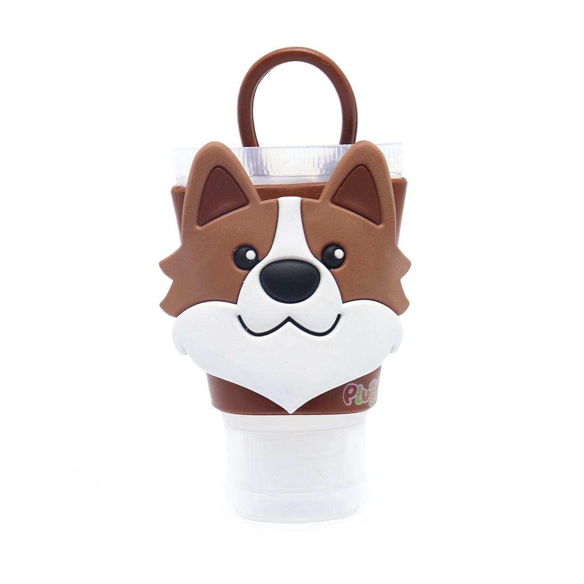 Chaveiro Plugt Cachorro Corgi Marrom + Frasco 30ml