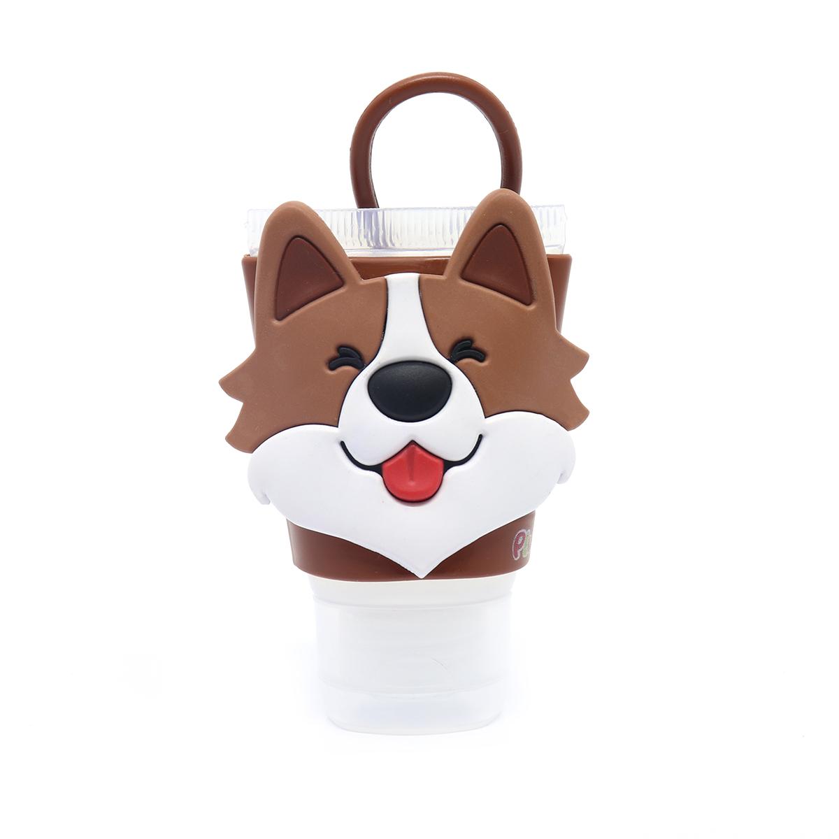 Chaveiro Plugt Cachorro Corgi Marrom Sorriso + Frasco 30ml