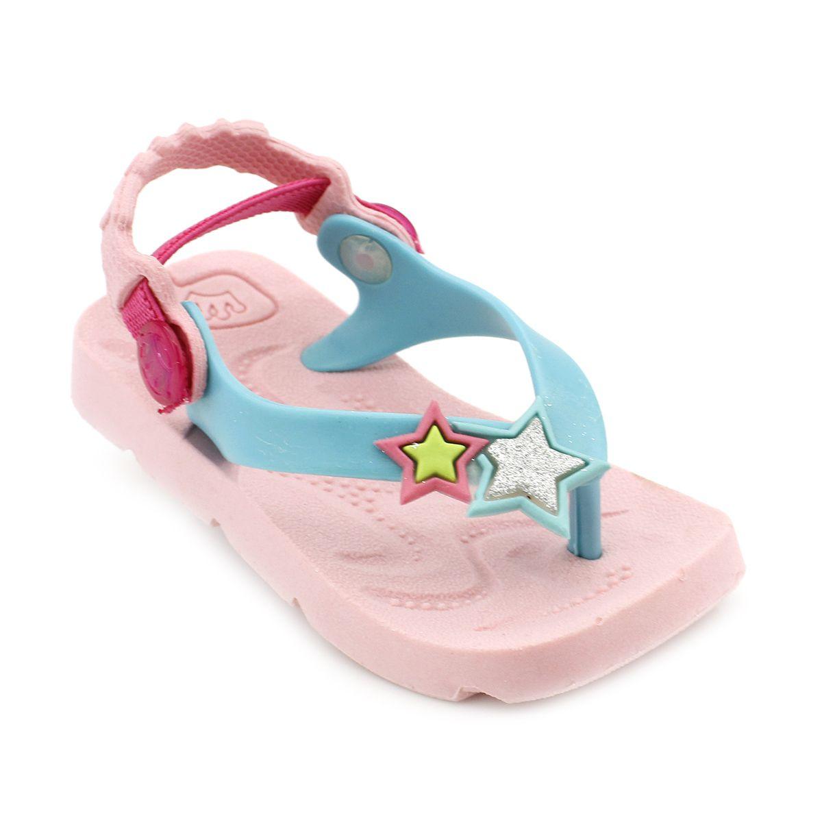 Chinelo Plugt Beach Estrelas Rosa