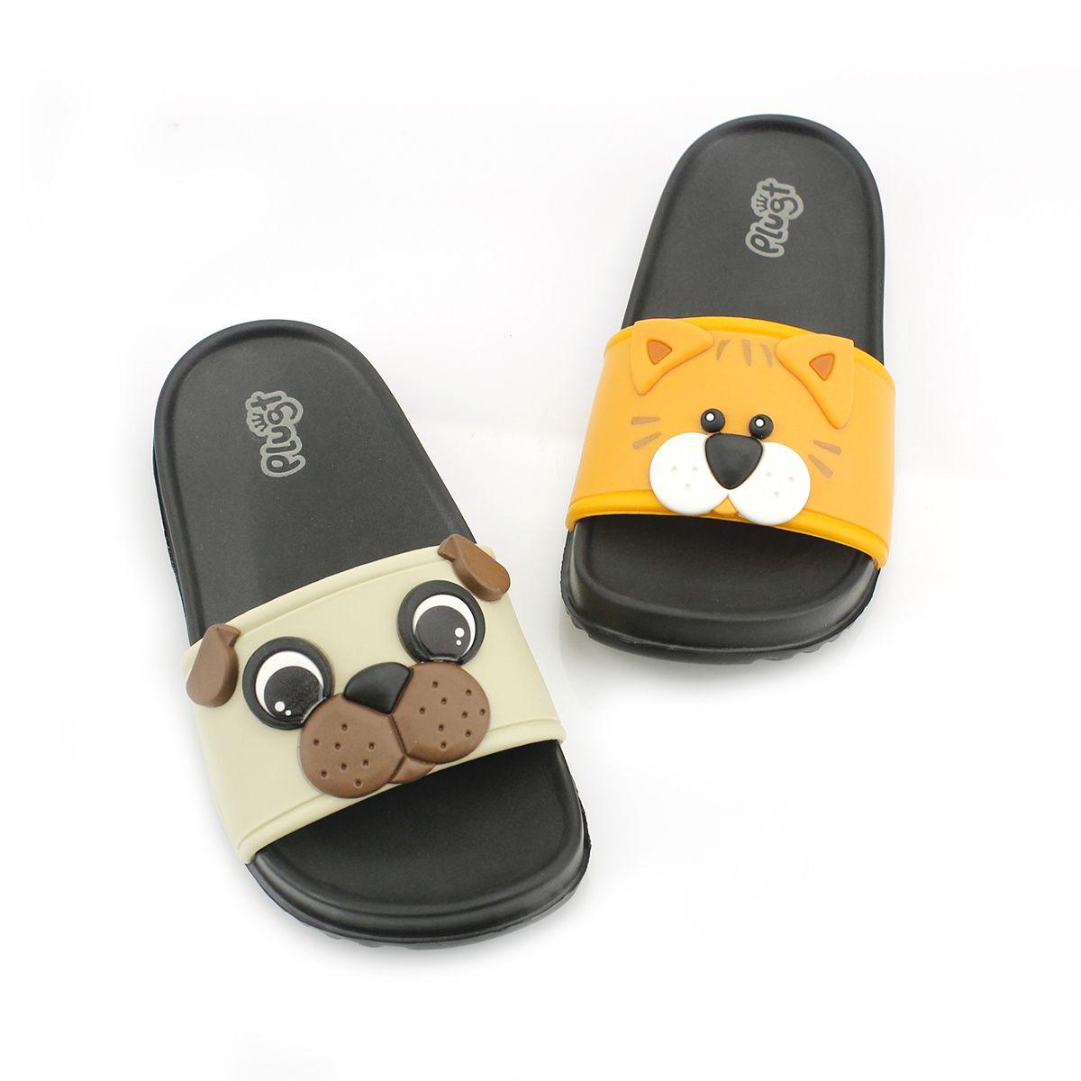Chinelo Plugt Slide Gato e Cachorro Laranja
