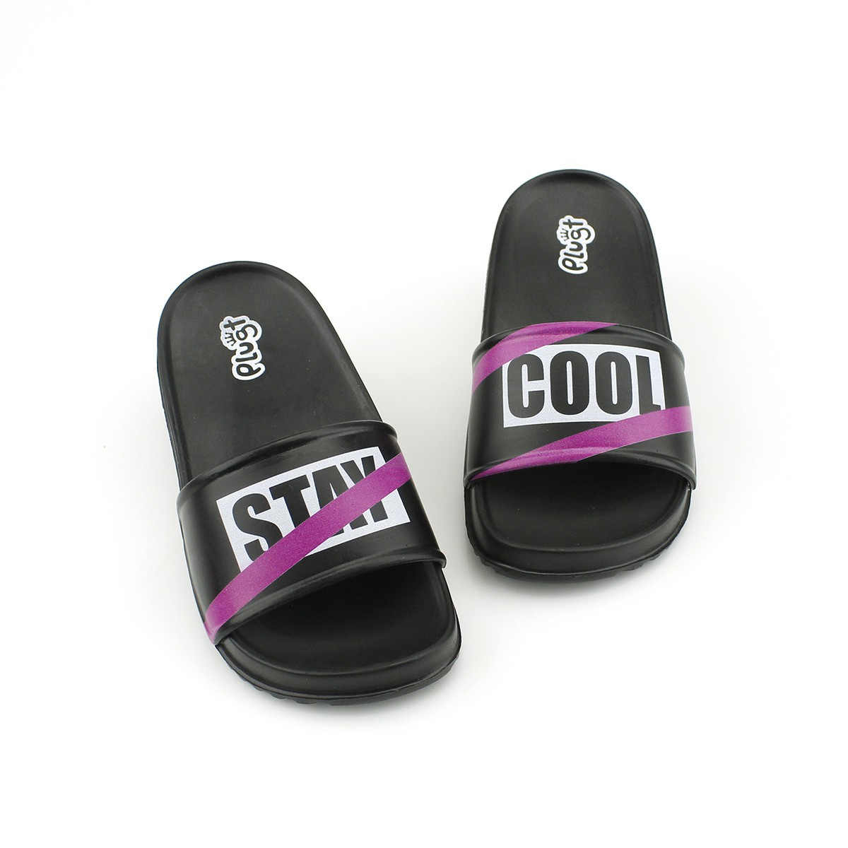 Chinelo Plugt Slide Hype Preto/Pink