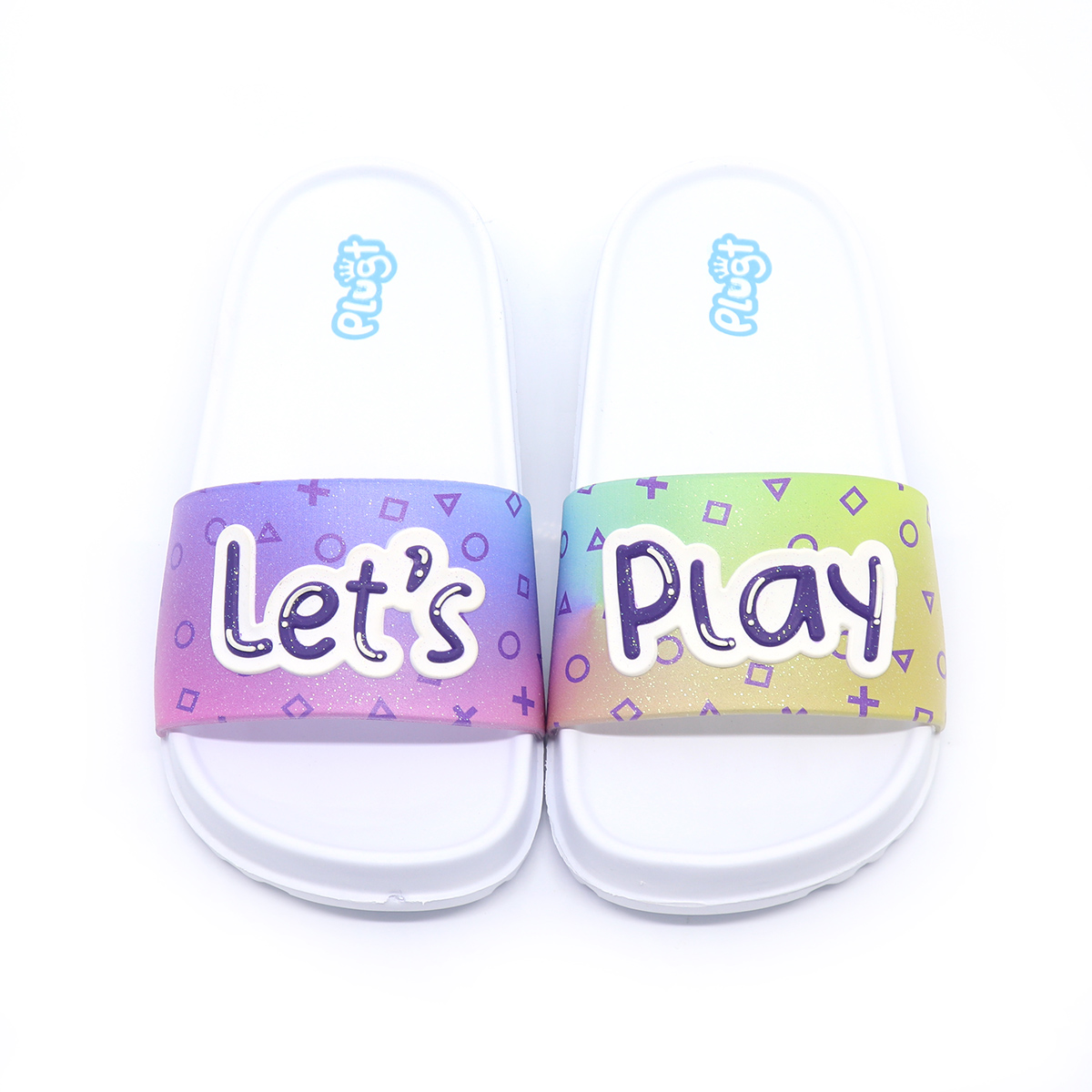 Chinelo Plugt Slide Let's Play Branco