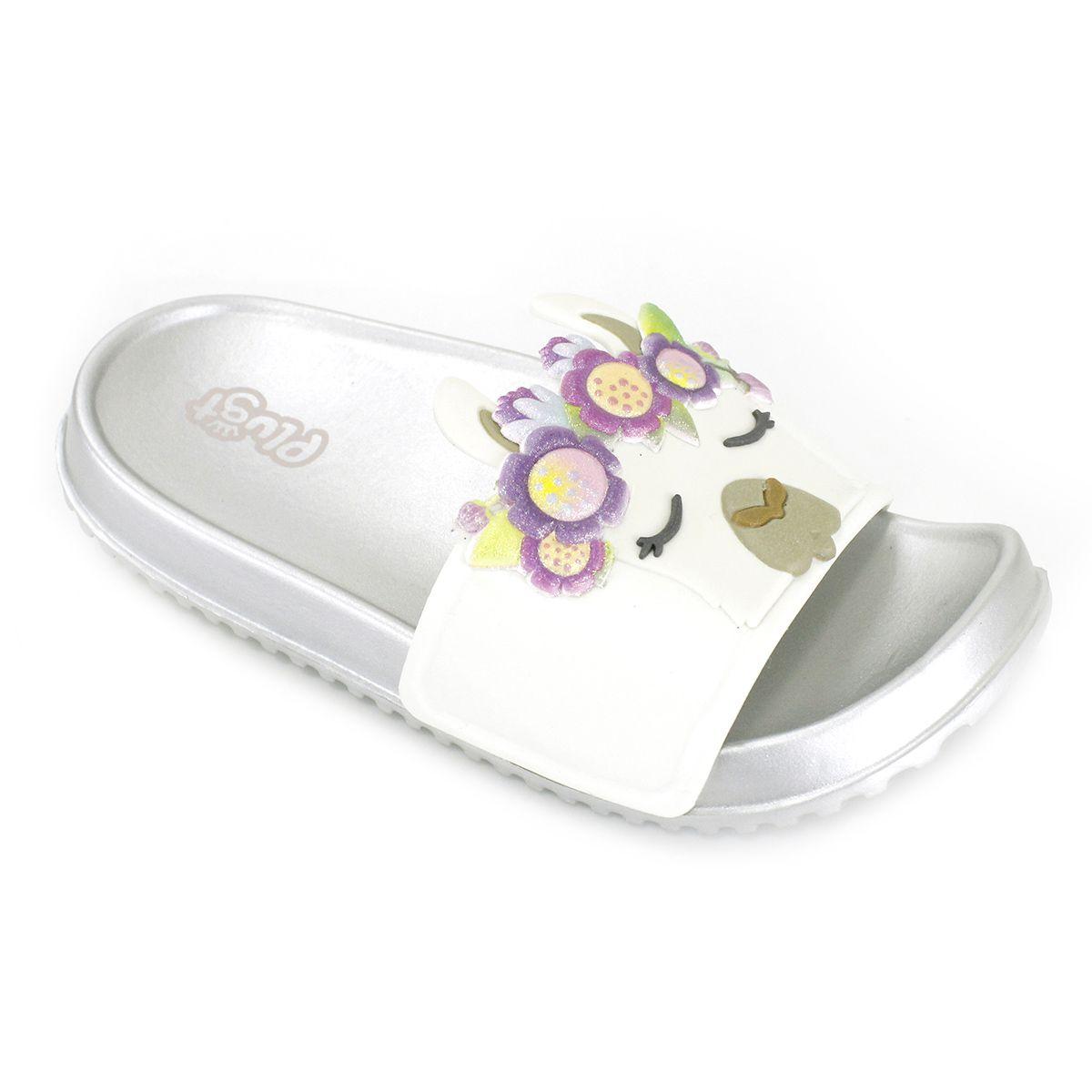 Chinelo Plugt Slide Lhama Floral Prata