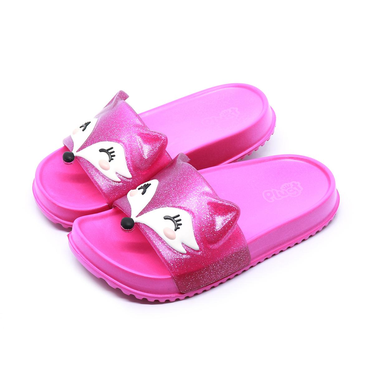 Chinelo Plugt Slide Raposa Gliter Pink