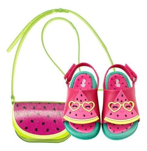Sandalia Mini Bizz Melancia + Bolsa