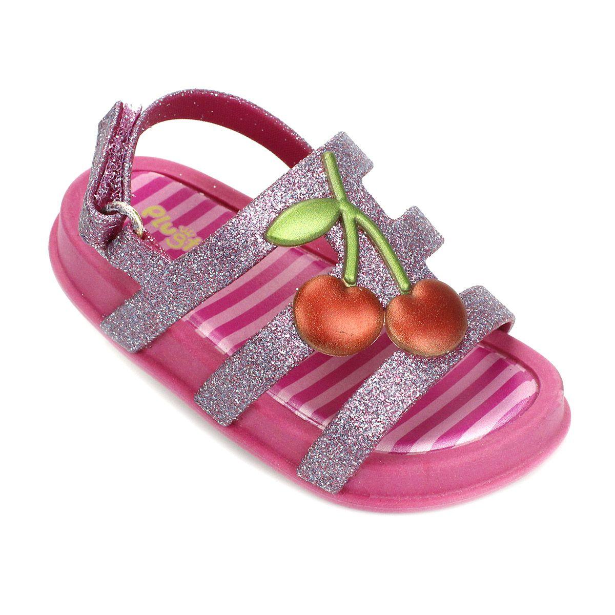 Sandália Plugt Mini Bizz Cereja Pink