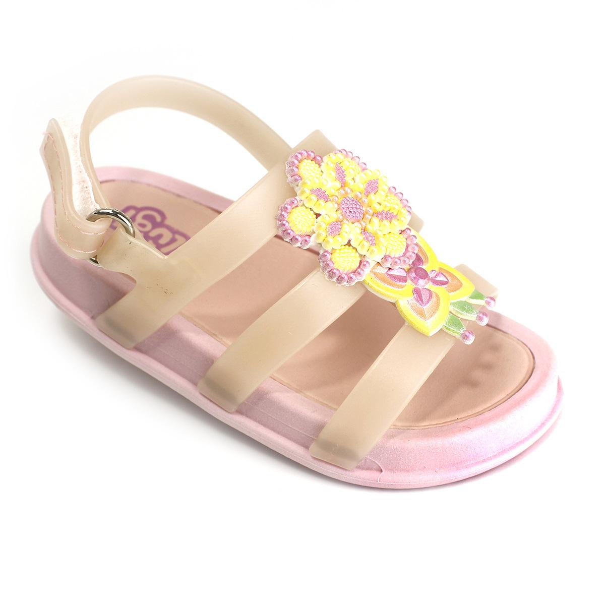 Sandália Plugt Mini Bizz Flores Bordadas Rosa
