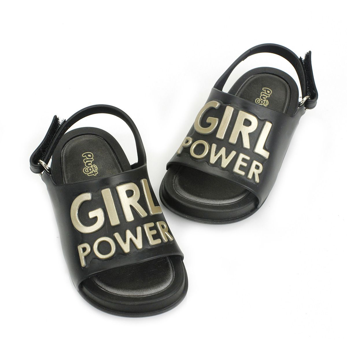 Sandália Plugt Mini Bizz Girl Power Preto Infantil