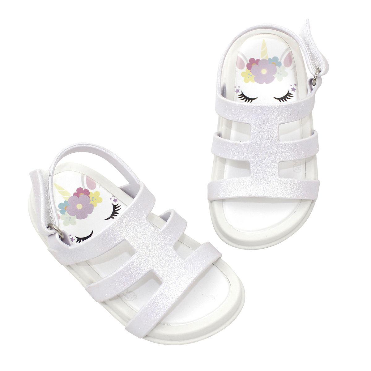 Sandália Plugt Mini Bizz Unicornio Branco