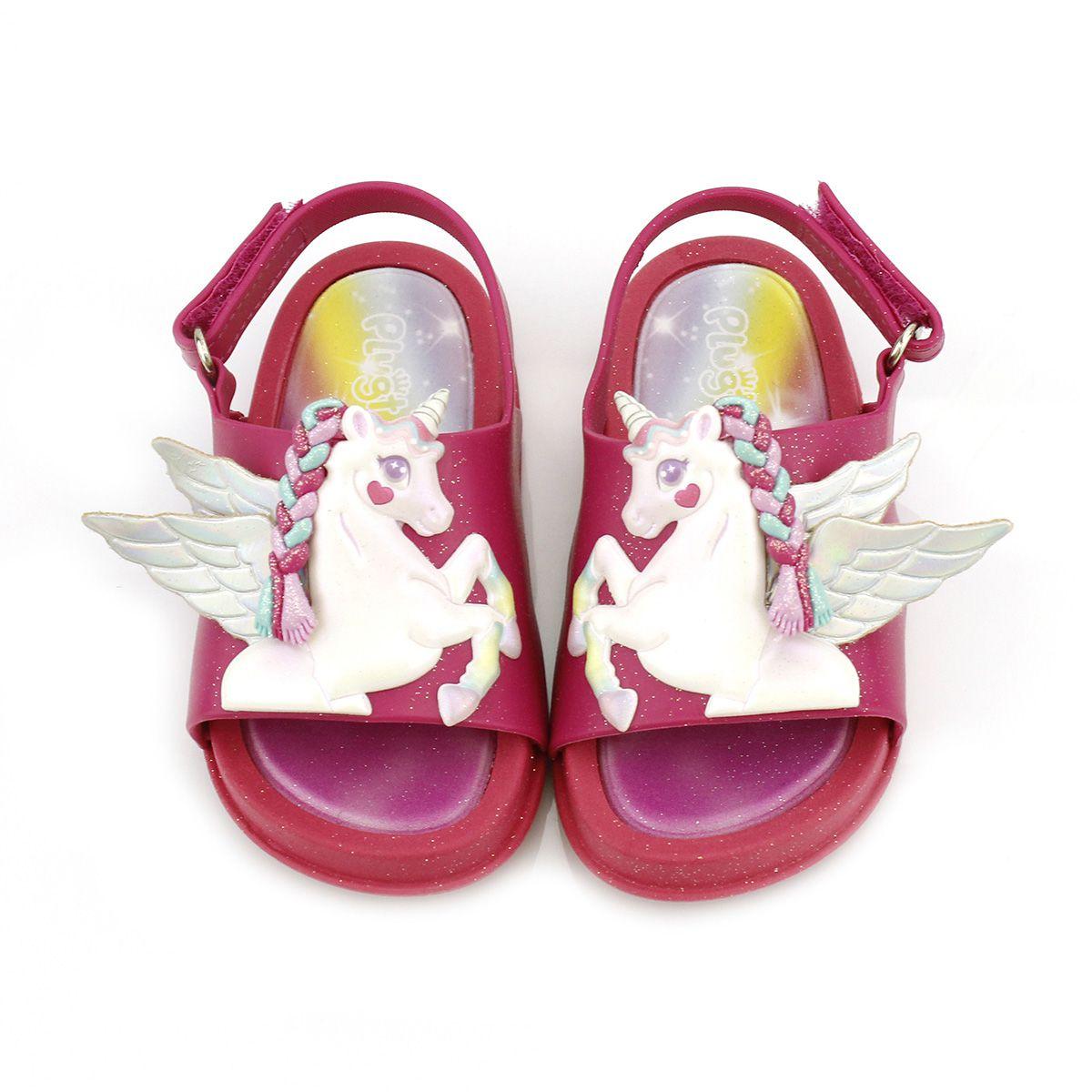 Sandália Plugt Mini Bizz Unicórnio Pink