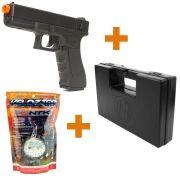 Kit Pistola Airsoft Cyma Glock Elétrica 18C CM 030 AEP + Maleta Rígida Rossi + BBs NTK Velozter 0.12g - Branca 2000un