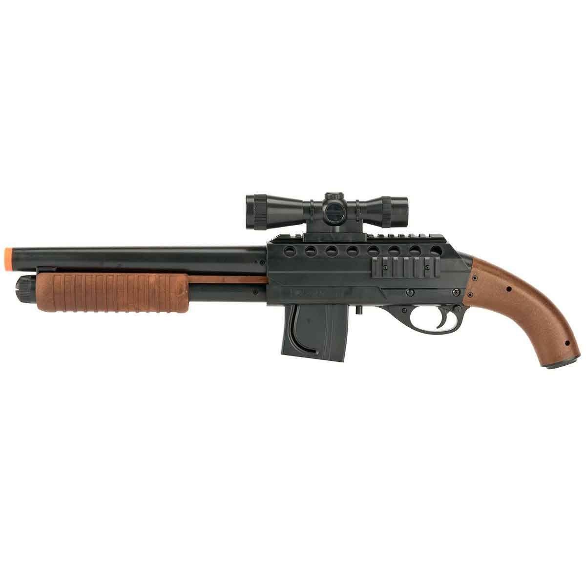 Airsoft Shotgun Cybergun Smith Wesson Mossberg M3000 Pistol Grip + Lanterna E Luneta Fake