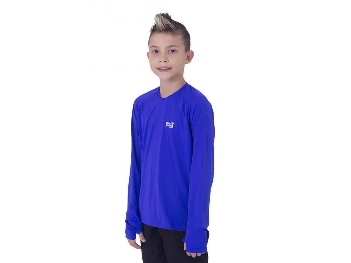 Camisa de Pesca Infantil Mar Negro Azul Royal Masculina UV 50+