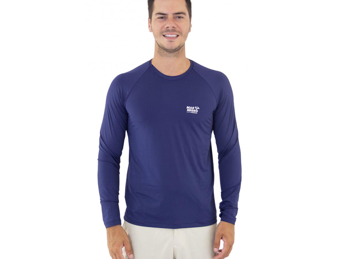 Camisa de Pesca Mar Negro Azul Marinho UV 50+