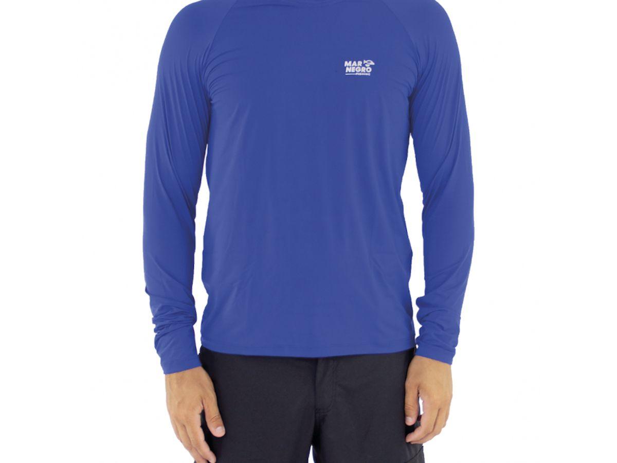 Camisa de Pesca Mar Negro Azul Royal Masculina UV 50+