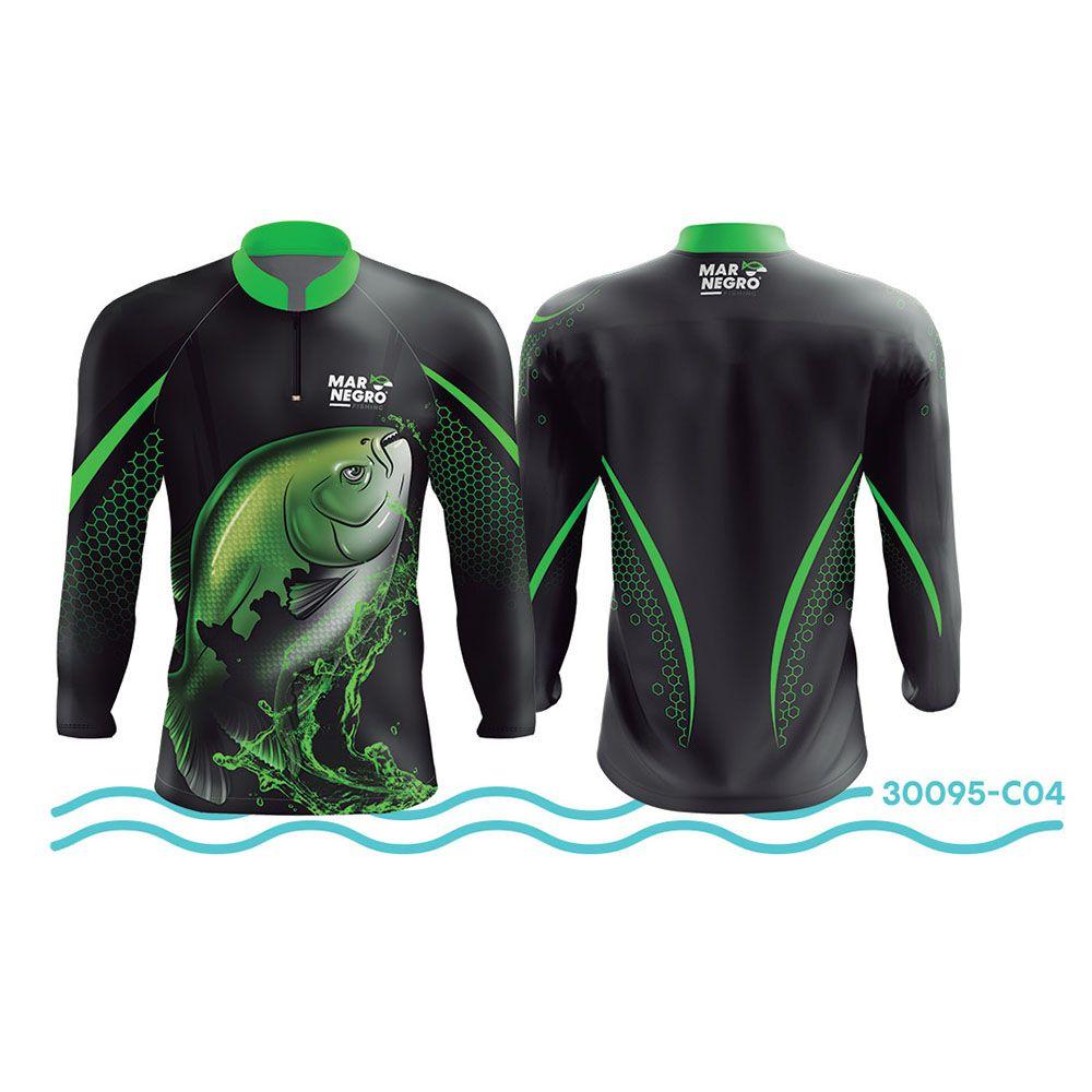 Camisa de Pesca Mar Negro Preto e Verde UV 50+