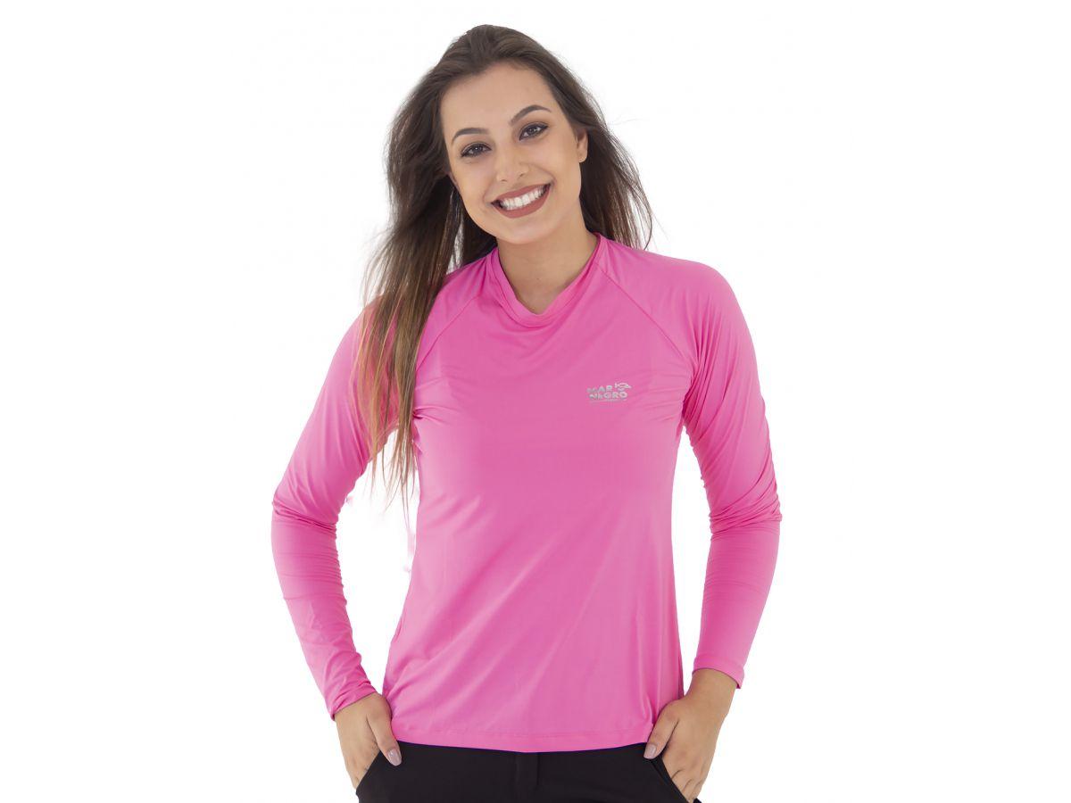 Camisa de Pesca Mar Negro Rosa Feminina UV 50+