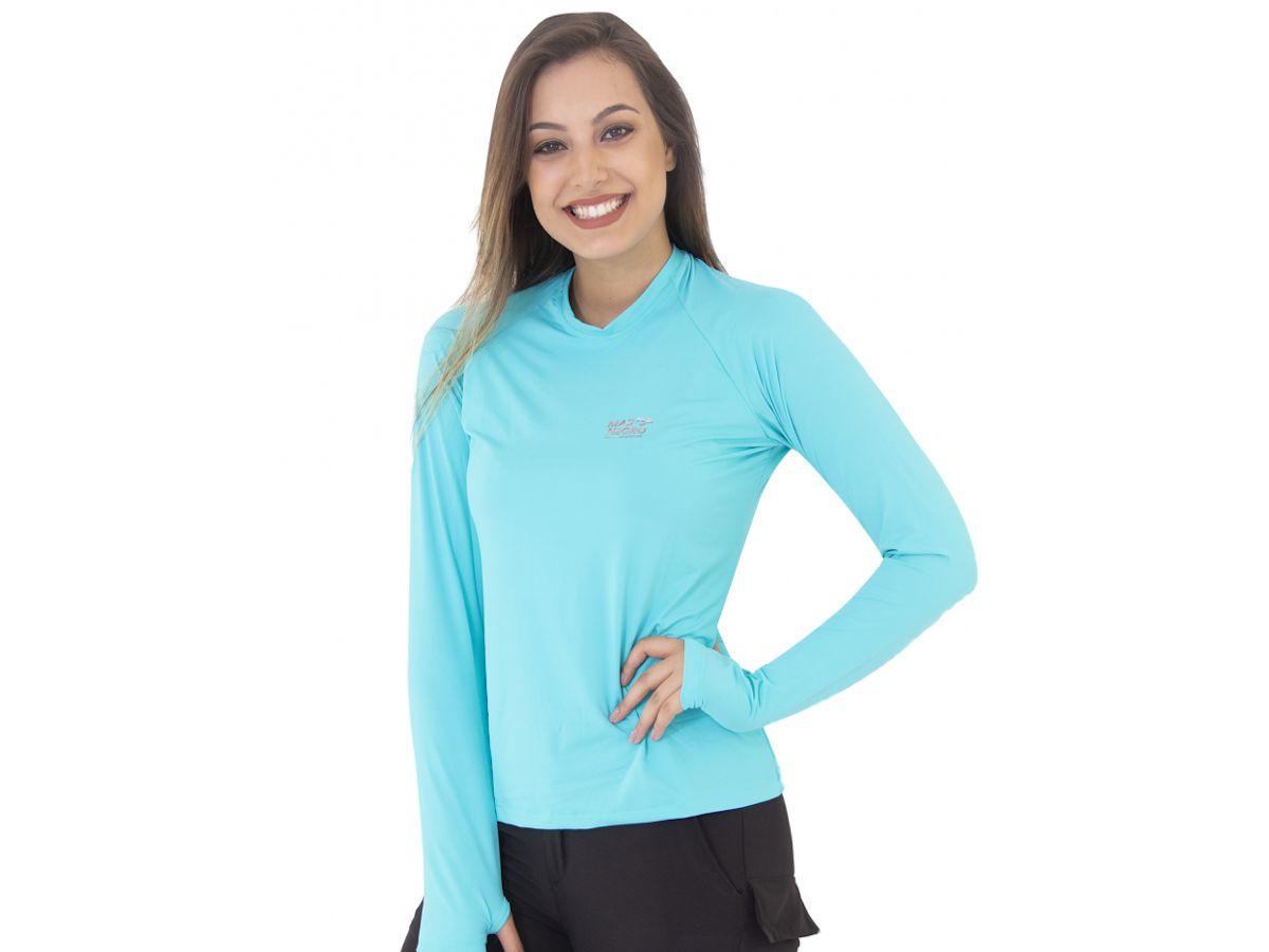 Camisa de Pesca Mar Negro Slim Azul Piscina Feminina UV 50+