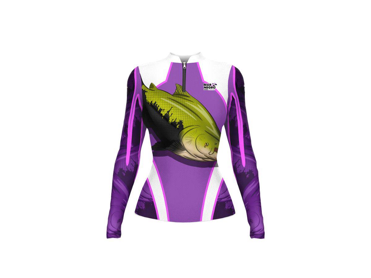 Camisa de Pesca Mar Negro Tambaqui Feminino UV 50+