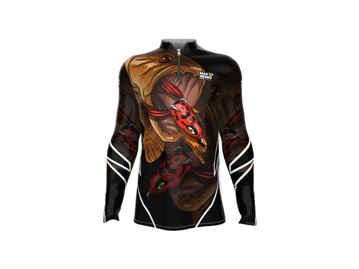 Camisa de Pesca Mar Negro Traíra Masculina UV 50+