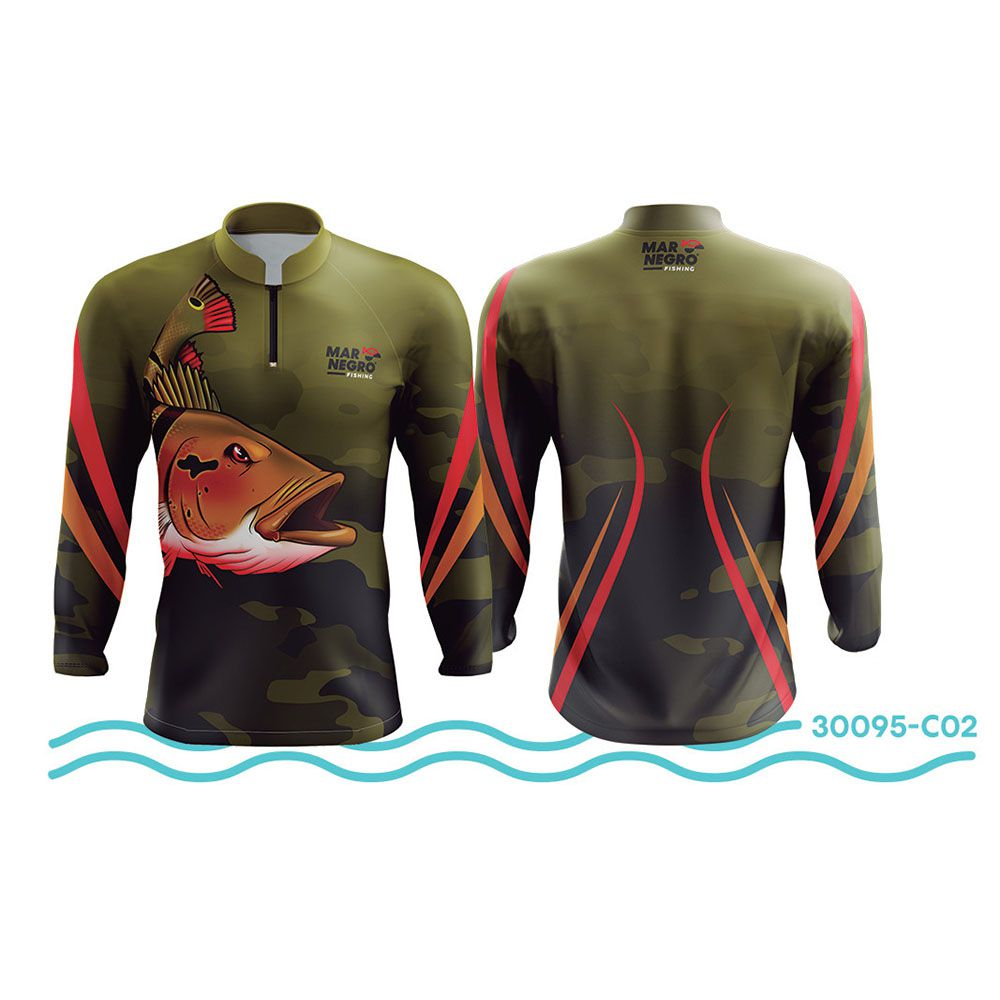 Camisa de Pesca Mar Negro Verde UV 50+