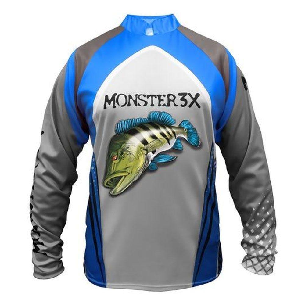 Camisa Monster 3x +20 New Fish 03 - Manga Longa