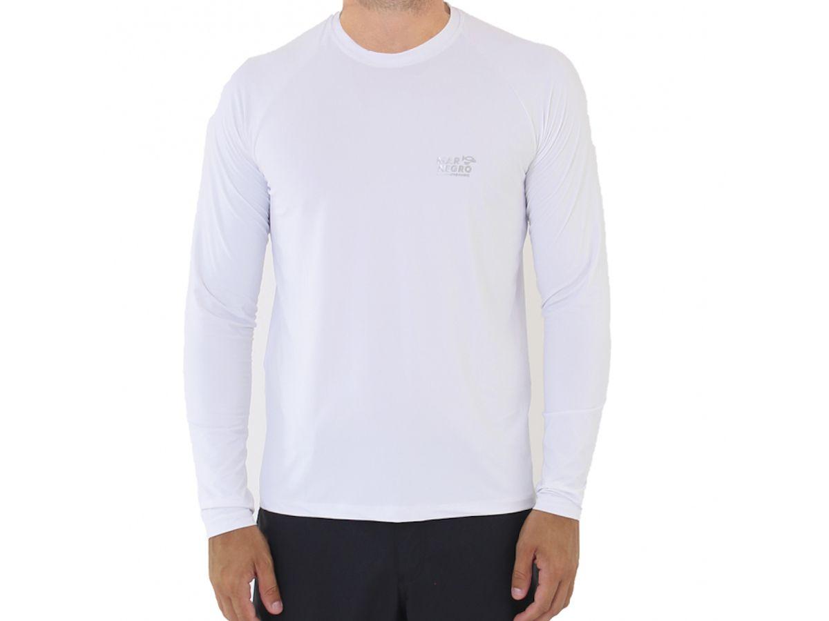 Camiseta de Pesca Mar Negro Branca Masculina