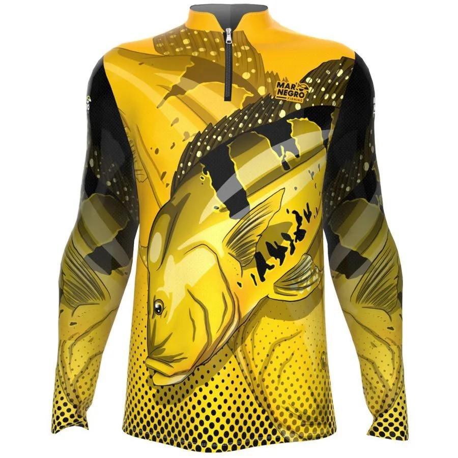 Camiseta de Pesca Mar Negro Tucunaré Amarelo Masculino Proteção Solar 50+ UV