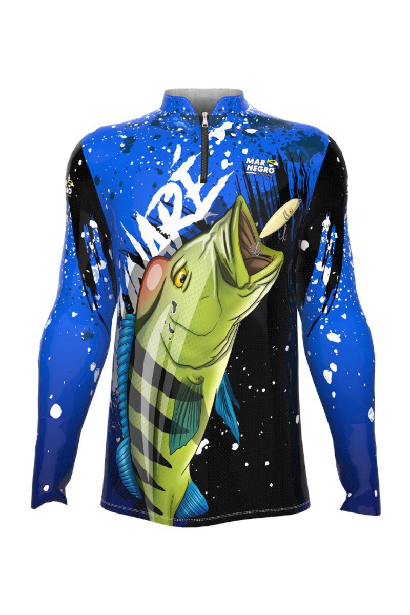 Camiseta de Pesca Mar Negro Tucunaré Azul Masculino Proteção Solar 50+ UV
