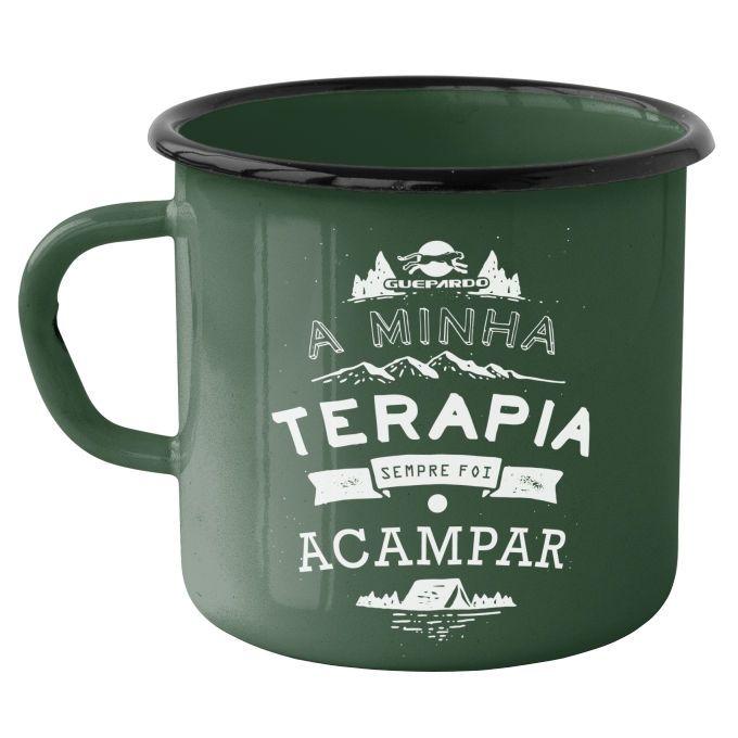 Caneca Esmaltada Guepardo Camping Terapia 240ml