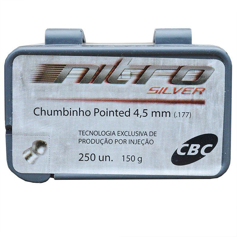 Chumbinho CBC Nitro Silver Pointed 4,5mm - 250 Unidades