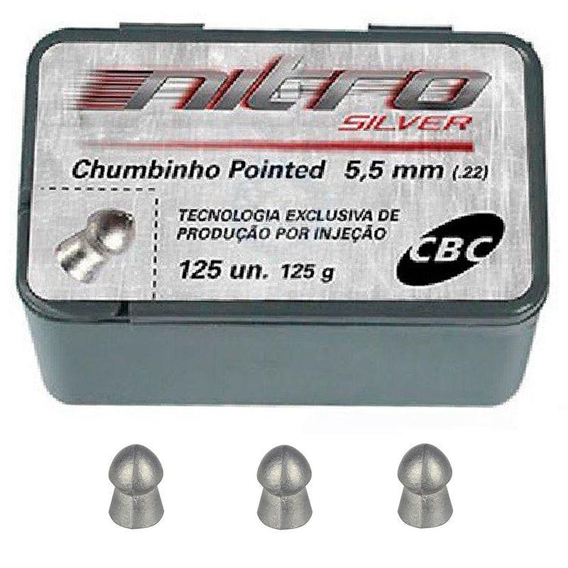 Chumbinho CBC Nitro Silver Pointed 5,5mm - 125 Unidades