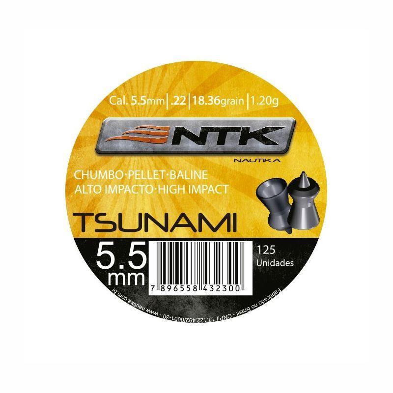 Chumbinho NTK Tsunami Tático Alto Impacto Cal. 5,5mm - 125 unidades
