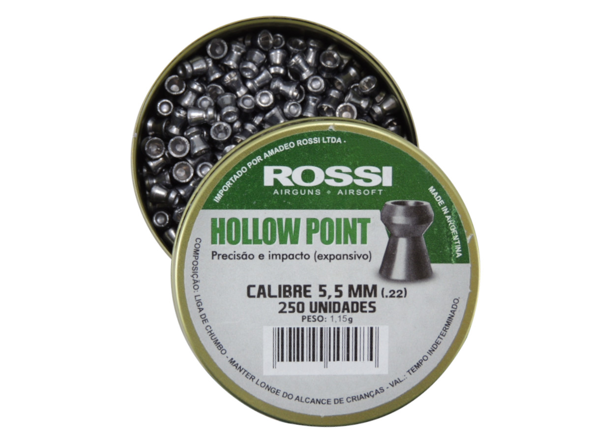 Chumbinho Rossi Hollow Point Expansivo Cal. 5,5mm - 250 unidades
