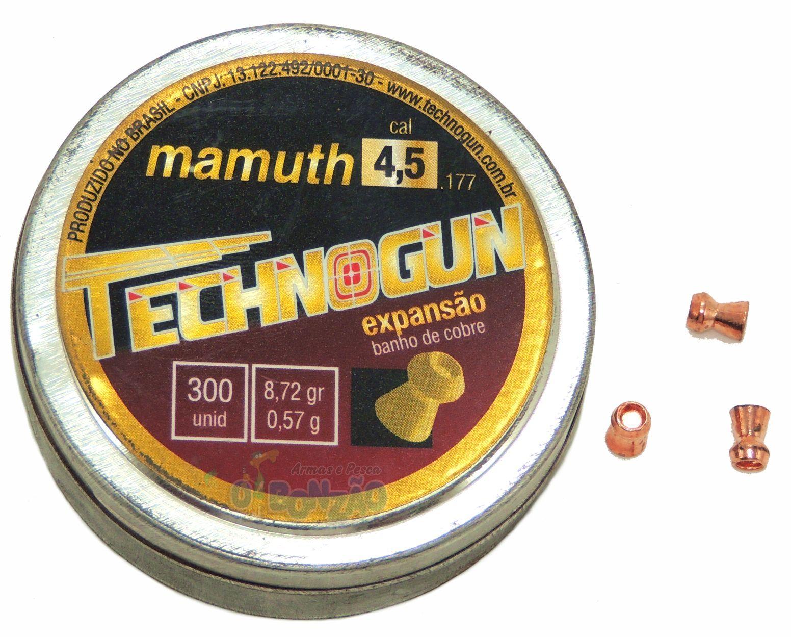 Chumbinho Technogun Mamuth Expansão Cal. 4,5mm - 300 unidades Banho de Cobre