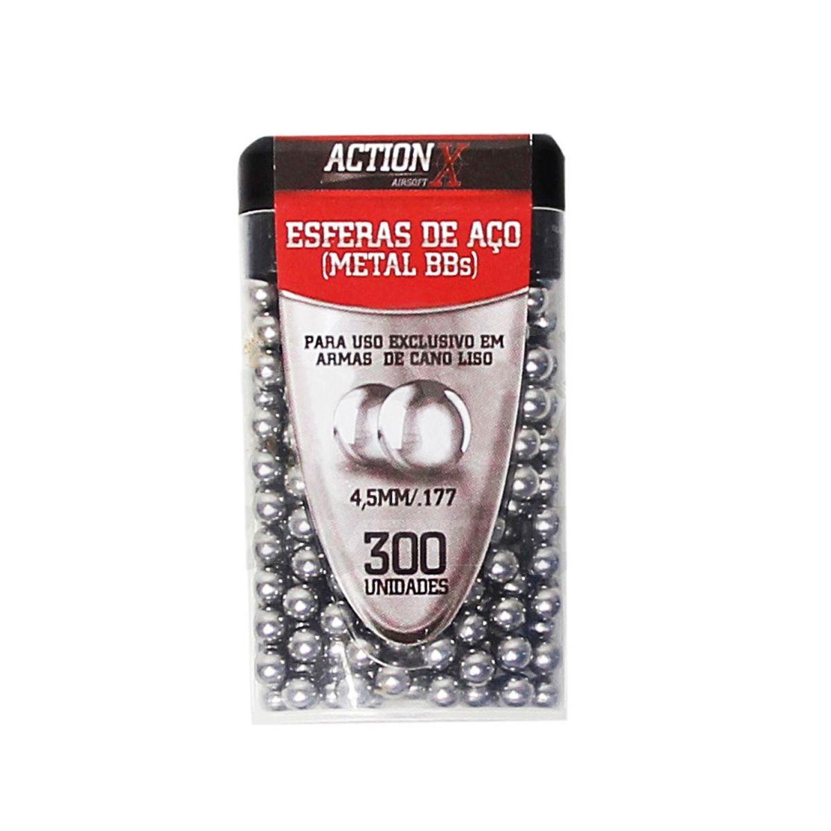 Esferas de Aço Metal BBs 4,5mm C/ 300UN - Actionx