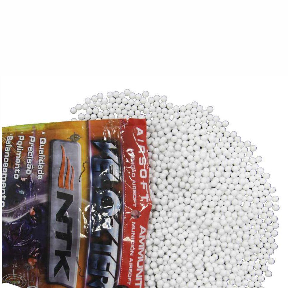 Esferas Plásticas Airsoft Velozter BBs 0.20g NTK - Branca 5000un