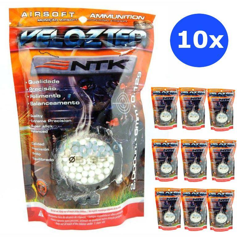 Kit 10x Munição Esferas Airsoft Bbs Velozter Ntk 0.12g 6mm - Total 20000un