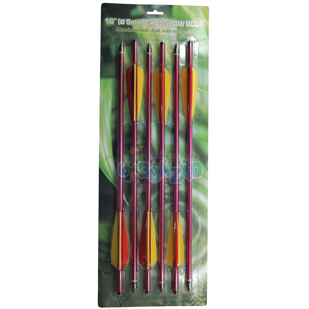 Kit 6 Flechas Setas de Alumínio 16 Polegadas p/ Balestra